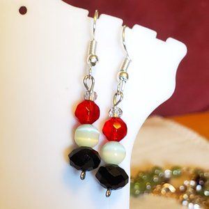 Silver Tone Hook Glass and Cat's Eye Bead Earrings
